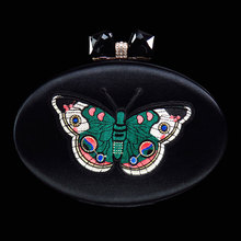 Women luxury evening clutch bags fashion black party purses bridal mini designer inspired handbags ladies hand bag butterfly(China)