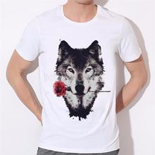 3D Wolf Rose T shirt Men 2017 Summer New Arrvial Funny Wolf Man's T-shirt Extended Plus Size White Hip Hop Animals Shirt B-226#