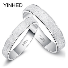 Fashion Frosted Couple Rings Real 925 Sterling Silver Wedding Rings for Women and Men 1 Pair Engagement Ring Set Jewelry ZR187(China)