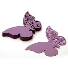 Practical 50 pcs Name Card Place card Paper Butterfly PURPLE Wedding Cake Cap Deco