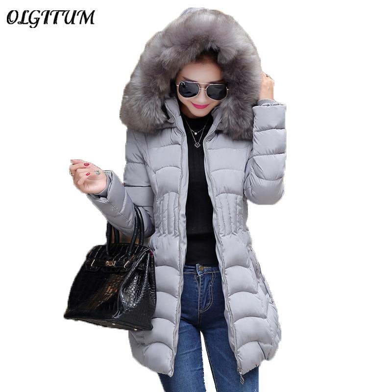 Plus Size 2017 Women Long Winter Down Jacket Cotton Slim Overcoat Fur Hooded Elegant Coat Casual cotton coat Fashion Women ParkaÎäåæäà è àêñåññóàðû<br><br>