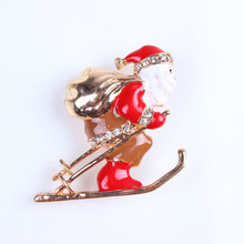 Europe And The United States Retro Christmas Oil Drop Sunglasses Diamond Santa brooch