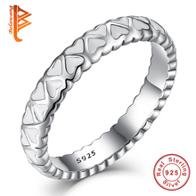 BELAWANG Romantic Luxury Unique Design 925 Sterling Silver Ring Pave Enamel Love Heart Finger Ring Jewelry For Women Bijoux Gift(China)