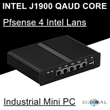 Intel Celeron J1900 Quad Core Eglobal Pfsense Fanless Mini PC 4 Intel Gigabit Lans Network Security Firewall Router Mini Server