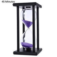 Stylish Ornament 45 Minute Sand Hourglass Countdown Timing Modern Wooden Sandglass Sand Clock Timer Home Decoration Wooden Frame