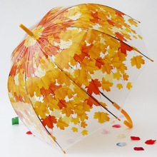Transparent PVC Long Handle Apollo Autumn Princess Umbrella Mushroom Plastic Clear Women Rain umbrella Green Red Leaves