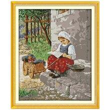 Новинка! Крестьянская девушка Счетный крест 11ct 14ct Вышивка крестом Китайская вышивка крестом Наборы для Вышивка Домашний декор рукоделие(China)