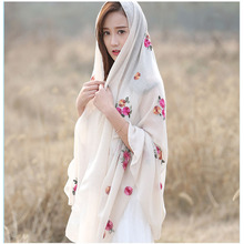 2017 Japanese Ethnic Style Embroidered ladies Women Scarves and Shawls Fashion Design Artistic Bandana and Pashmina brand shawl(China)