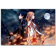 S060 Sword Online SAO ALO Fighting Hot Blood Japan Anime Art Poster Silk Light Canvas Painting Print Home Decor Wall Picture(China)