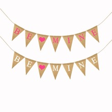Buy BE MINE Rustic Burlap Banner Valentine Day Garland Gift Wedding Engagement Birthday Decorative Banner Photo Props Decor for $3.23 in AliExpress store