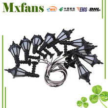 Mxfans Black Scale 1:75 LED Dollhouse Wall Light Lamps Model Metal Plastic Pack of 10