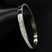 Crystal Silver Gold Color Stainless Steel Bangles For Women Jewelry Cuff Bracelets Mother's Day gift brazalete pulseras joyeria