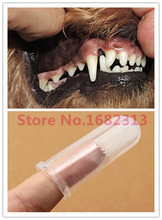 2015 Super Soft Pet Finger Toothbrush Teddy Dog Brush Addition Bad Breath Tartar Teeth Care Dog Cat Cleaning Supplies GH2(China)