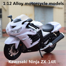 1:12 Alloy motorcycle models ,high simulation metal casting motorcycle toys,Kawasaki Ninja ZX-14R,free shipping(China)