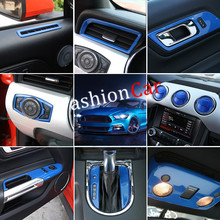 35pcs/set Blue/Red Interior Accessories Whole Kit Cover Trims For Ford mustang 2015 2016 2017 Left hand drive(China)