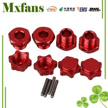 Mxfans 4x Red T10124 Aluminum Wheel Rim Hex Hub Nut Cover Pin Set RC 1:8 Buggy 17mm