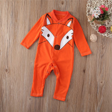Retail Child Fox fleece top overall newborn baby clothes boys clothing romper Roupas de Bebe