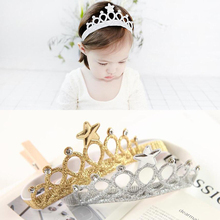 M MISM New Children Hair Accessories Princess Tiara scrunchy Headband Baby Crown Headwear Star Crown Toddler Elastic Headband