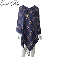 [Visual Axles] 2017 Women Autumn and Winter Flat Knitting V-Neck Plaid Batwing Sleeve Pullovers Poncho Sweater With Tassel