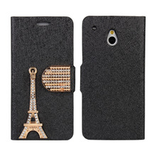 Diamond Wallet Case For HTC One Mini M4 Cover Women Luxury Fashion Tower Mobile Phone Bag Shell Case Cover For HTC One Mini M4(China)