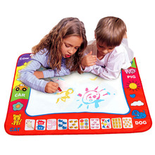 80cmx60cm Hot Aqua Doodle Childrens Drawing Toys Mat Magic Pen Educational Toy 1 Mat+ 2 stencils for painting knutselen