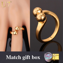 U7 Brand Ring Gold Color Men/Women Jewelry Unique Simple Design Party Gift Trendy Round Wedding Band Ring R355