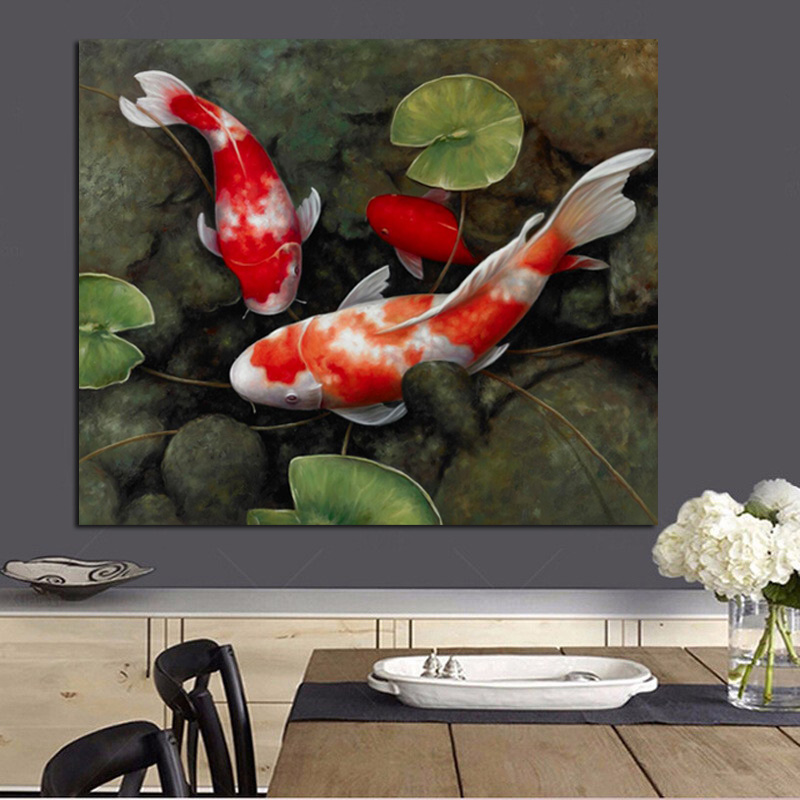 Chinese Koi Fish Lotus Canvas Prints Feng Shui Animal Landscape Painting Wall Art Picture For Living Room Moder Home decoration (2)