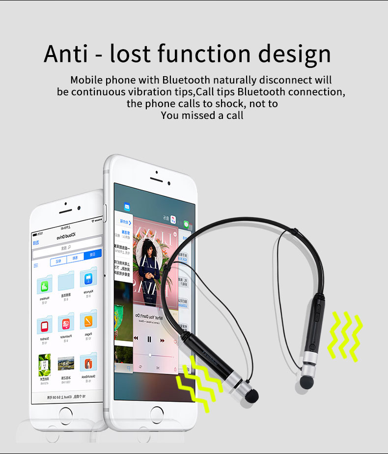 FINEBLUE FD600i Bluetooth Headphones Wireless Neckband Headset Stereo Magnetic Earbuds with English Korean voice prompt