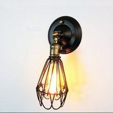 Creative Loft Industrial Wind Wall Light Retro Small Iron Cage Wall lamp E26/E27 bedside lamp For Restaurant Kitchen Bedroom