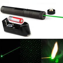 Flashlight Style Free shipping, 2 in 1  Adjustable Green Laser Pointer Flashlight  With Star Pattern Filter + Battery+charger
