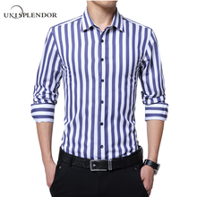 2017 Spring Mens Slim Fit Stripes Pattern Shirts Business Shirt Work Wear Casual Dress Shirt Long Sleeve Shirts Soft Top YN10043(China)