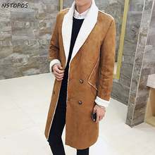 2017 Long Overcoat Men Suede Double Breasted Trench Coat Men Fur Collar Slim Fit Brown Green Black 4xl Male Trench Coat Winter(China)