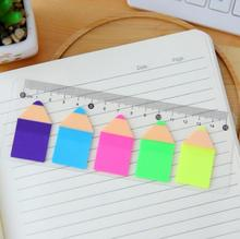 Novelty Pencil Shape Fluorescent Self-Adhesive Memo Pad Sticky Notes Post It Bookmark with Ruler School Office Supply