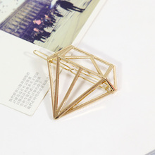 1PC New Girls Korean Fashion Lovely Hair Clip Diamond Shape Hairpins Gold Silver Hairgrips Headbands For Women Hair Accessories