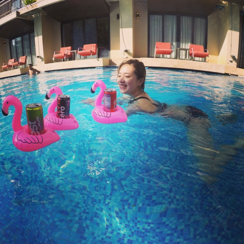 Cute Pink Flamingo Drink Holder PVC Inflatable Floating Swimming Pool Beach Party Kids Swim Beverage Holders (3)