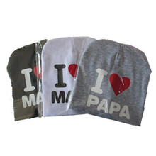 Baby Hat I love Mom And Dad Caps Printed Infant Cotton Children Hats Beanies Cap for Toddler Boys Girls(China)