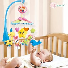 NextX Crib Electric Musical Mobile Baby Cot 20 Lullabies Rotating Toy music Bed Bell with Soft Colorful Plush Dolls(China)