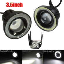 2 Pcs /Set 3.5Inch Car Fog Light COB LED Projector Halo Ring DRL Driving Bulbs Angel Eye Fog Lights Wholesale(China)