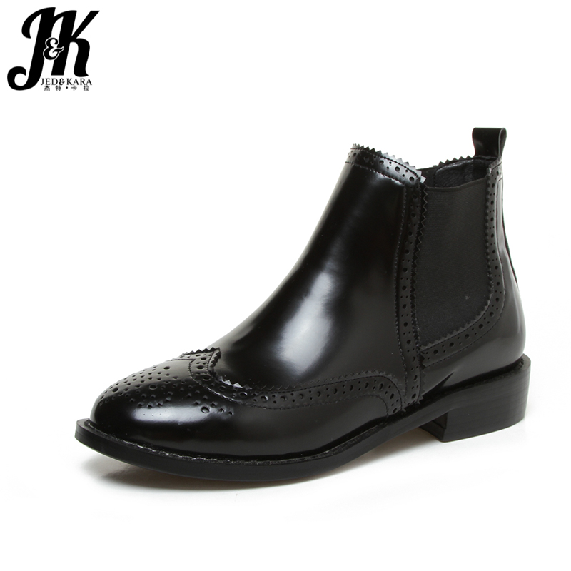 J&amp;K Oxford Style Chelsea Ankle Boots Brand Street Rubber Boots Autumn 2017 Slip On Elastic Band Women Platform Shoes Square Heel<br>