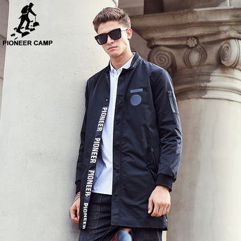 Pioneer Camp 2017 New style long Trench Coat Men brand clothing fashion Long Jackets Coats brand-clothing mens Overcoat  611311