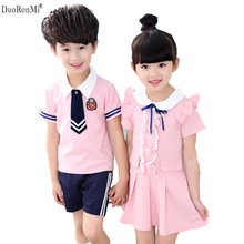 DuoRonMi 2017 New 4-11 Year Baby Girls Dresses Boys Suit School Wear Children Summer Short  Sleeve Girls School Uniform Boys Set
