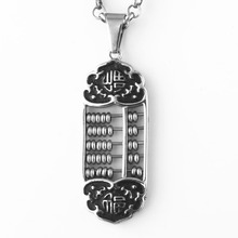 Stainless Steel Abacus Pendant necklace with bead for men women ,  Silver black, 23 inch Chain