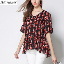 Chiffon Blouse Fox Pattern Printing And Dyeing V-neck Short Sleeves Thin Womens Tops And Blouses Plus-size 6XL 5XL 4XL 3XL 2XL L