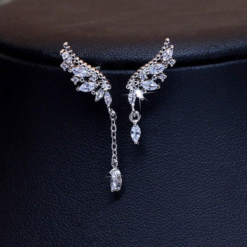 Fashion Temperament Asymmetric Tassel Angel Wings Crystal Earrings Women