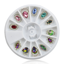 1 Wheels 12 Designs 3d DIY Charm Gem Rhinestone Nail Art Jewelry Rainbow Women Nail Decorations Manicure Tools ND260(China)