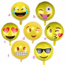 7pcs expression balloons Emoji foil ballon Smiling face birthday party Emoticons helium ballon wedding inflatable balls