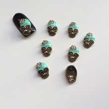 50pcs Metal Skull 3d Alloy Nail Art Decoration Glitter Rhinestone Nail Jewelry DIY Beauty Halloween Nail Accesories
