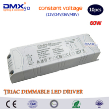 DHL Free shipping 10pcs 60W LED TRIAC Dimming Driver Constant Voltage Dimmable power supply use for LED Lighting(China)