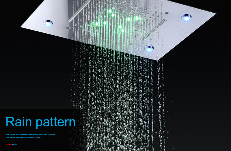 Ceiling Mount Square Fixed Rainfall Shower Head with 3 Way Thermostat Bathroom Shower Faucet Chrome Handheld Shower System (7)