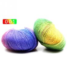 50g/Roll Knitted Chunky Sock Shawl Woolen Rainbow Wool Colorful Hand Knitting Scores Wool Yarn Needles Crochet Weave Thread(China)
